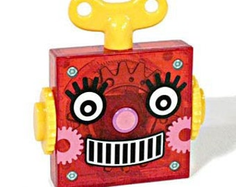 Red Retro Robot Tape Measure