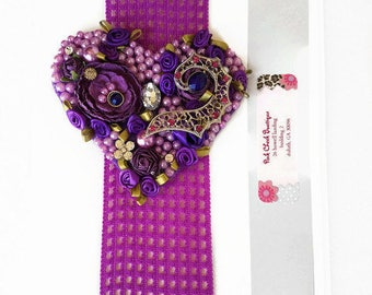 Girl Purple hearth Headband/Purple Heart Headband/birthday Headband/Floral Headban/Teen Headband/Girl Heart Headband/teen birthday