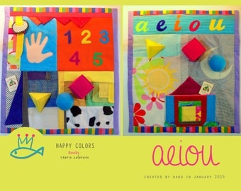 "Touch panel ""aeiou""-sensory-Montessori-play mat with lots of activities."