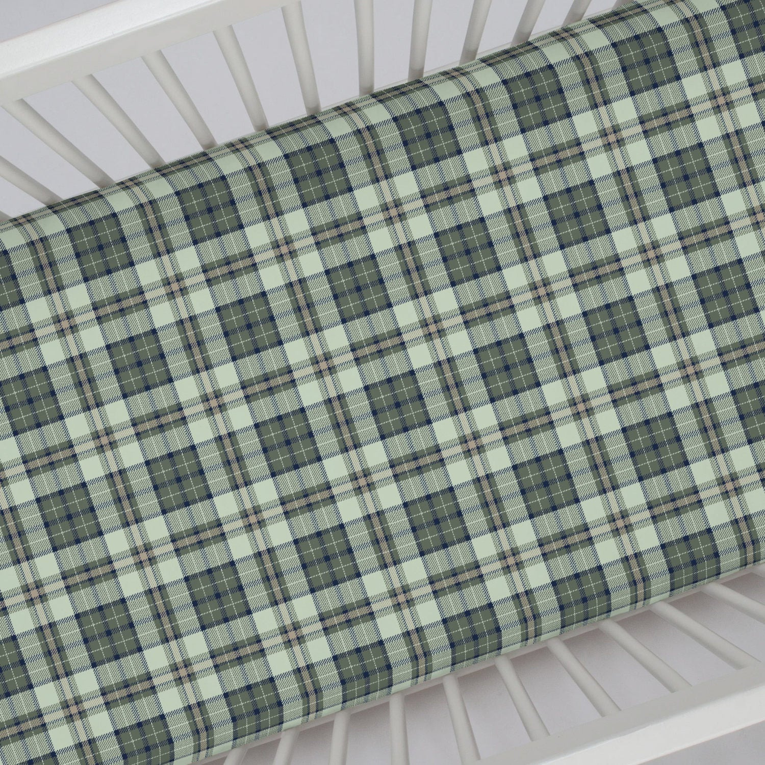 pine rustic grey cribs in creek decor plaid pin nursery a bedding and with crib by navy