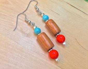 WOODEN BEAD EARRINGS orange blue earrings wood earrings wood beads nature jewelry rustic jewelry rustic earrings Czech glass beads