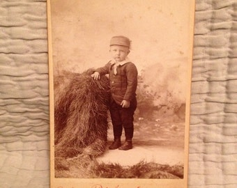 ON SALE Red Jacket MI Michigan antique cabinet card photograph of an young boy -- vintage old photo ephemera 1800's