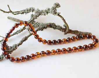 Round amber necklace/ qognac color/ polished amber/ handmade/ best quality