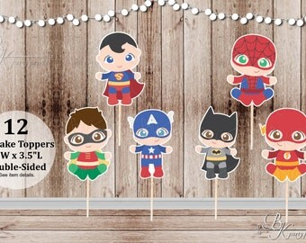 Boy Superhero Babies Team 1 - Set of 12 Assorted Baby Boy Superhero Inspired Double Sided Cupcake Toppers