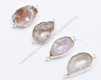 Druzy Connectors -- Drusy Druzzy With Electroplated Silver Edge Geode Charms Wholesale Supplies CQA-042