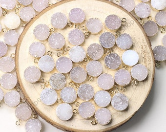 10mm Round Druzy Pendants -- With Electroplated Gold Edge Druzzy Drusy Geode Dainty Charms Wholesale Supplies Handmade CQA-001