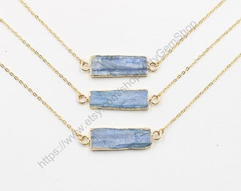 Kyanite Necklaces -- With Electroplated Gold Edge Jewelry Supplies Wholesale Bridesmaid Necklaces CQA-027