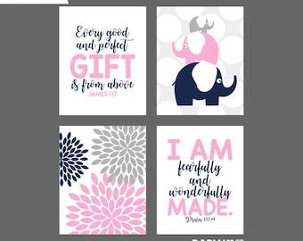 Pink Navy Baby Girl Nursery art prints, Nursery Bible Verses, James 1:17, Psalm 139 14, Elephants, Set of 4 8x10 ( NPHO810077 )