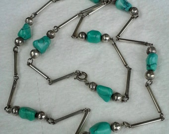 Handmade, handcrafted, silver tubes, turquoise stones and silver beads necklace
