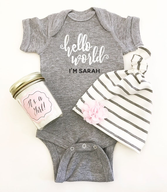 Personalized baby gifts custom baby bodysuit personalized baby personalized baby gifts custom baby bodysuit personalized baby shirt coming home outfit baby hello world bodysuit eb3168hlw bodysuit only negle Image collections