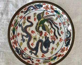 Vintage Japanese Dragon Pewter Encased Porcelain  Ware Metal-Clad Plate Decorated Hong Kong