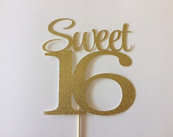 Sweet 16 Cake Topper ANY NAME Sweet 16 Party Decorations
