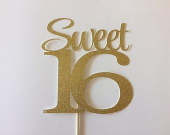 Sweet 16, Sweet 16 Cake Topper, Sweet Sixteen Cake Topper, Gold Sweet 16 Cake Topper,  First Sweet 16 Birthday, Cake Topper, Sixteen
