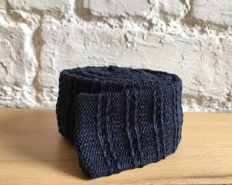 Navy blue indigo cotton knitted skinny tie; vegan, UK, hipster retro