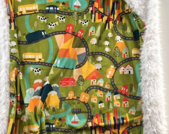 Farm baby blanket, cows, sheep city baby nursery, bright primary colors