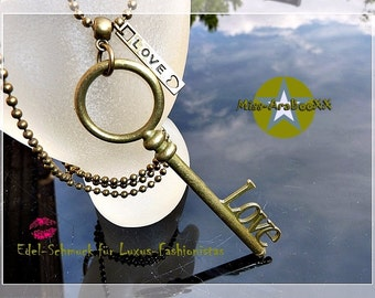 Key & chain bronze, key pendant necklace with, magic love key and love-charms, luck, luck chain