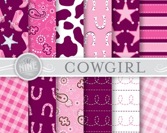 "COWGIRL Digital Paper: ""DARK PINK"" Pattern Print, Instant Download, Cowgirl Patterns, Cowgirl Scrapbook Print"