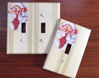 Santa Claus Light switch cover // Christmas // nostalgic vintage old fashioned // SAME DAY SHIPPING**
