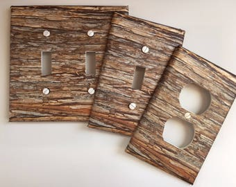 Rustic wood Light Switch Plate cover Distressed Farm Wood // brown image 61 // SAME DAY SHIPPING**