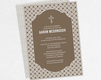 Boy Baptism Invitation, Christening Invitation, Printable Baptism Invitation, Invitation PDF, DIY Invitation, Classic, Modern, Brown, Aaron
