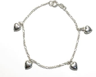 Sterling Silver Puffed Hearts Charm Bracelet