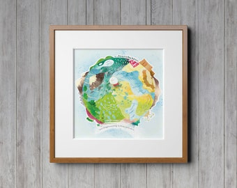 Hello World, Earth Day, Nature Prints, Wall Art, Nursery Decor, Kids Room, Childrens Art, Watercolor Print, Classroom Decor, World Map