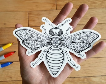 Large Vinyl Coloring Sticker - Bee - Adult Coloring - Hand Drawn Design