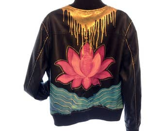 Hand-Painted Leather Jacket - Lotus Flower - Gold Accents- Custom Design Jacket