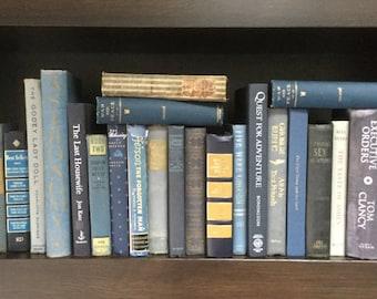 Large collection 22 vintage books blue/gold/navy/gray decorators bookshelf lot