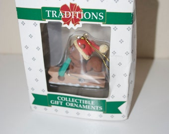 Squirrel on Clothespin Ornament Traditions Lustre Fame 1992