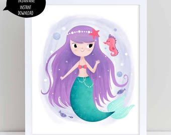 Purple Mermaid, mermaid illustration, mermaid print, mermaid digital, girl room decor, girl illustration, nursery wall art, mermaid download