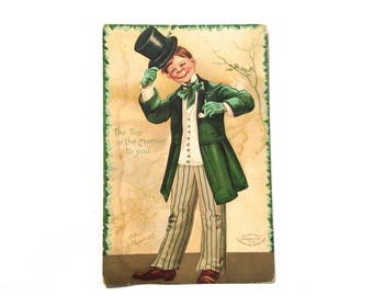 Vintage 1910s St. Patrick Day Postcard 'Top of the Mornin' to You' 3 x 5, Cute Irish Boy with Top Hat