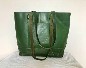 Vintage Deep Green Leather Street Tote Shopper Shoulder Bag Handbag
