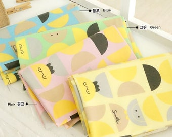 Laminated Cotton Fabric Smile in 4 Colors By The Yard