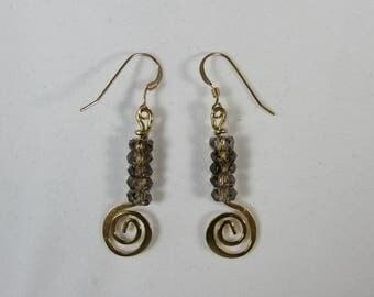 Genuine Smokey Topaz & 14k Gold Earrings/ Faceted Smokey Topaz Earrings/ Handmade/ Hand Crafted