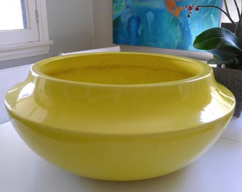 Bright Yellow, Gainey and Bauer Style Architectural Pottery Planter, Retro, Mid Century Modern, Space Age