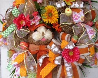 Easter-Bunny Burlap Mesh-Wreath-Orange-Pink-and-Yellow-Easter Wreath,Easter Decor, Easter Wall Decor, Burlap Bunny Wreath