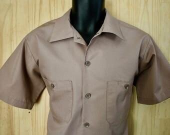 Men's Vintage Angelica Uniform Shirt/ c. 1980s/ Vintage Workwear/ Men's Short Sleeve Utility Shirt/ Size M