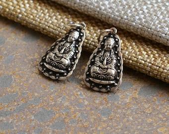 Small Sterling Silver Kuan Yin Charm, Oxidized Silver Quan Yin Charm,Goddess of Compassion,Female Buddha,Chinese Goddess,One Charm,KP17-0525