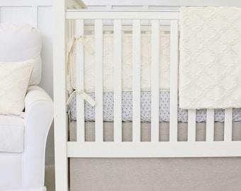 Easton's Linen Bumper Baby Bedding| Crib Set Vintage Linen & Ivory | Baby Bumpers | Taupe, Linen, Ivory, Gender Neutral Crib Bedding