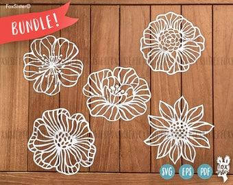 SVG Bundle! 5 Flower SVG / PDF Papercut Templates | Commercial/Personal use | hand/machine cutting | Paper Cut Out | Cricut | Cut Your Own