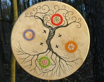 TREE OF LIFE Shaman Frame Drum Celtic Drums 4 Nature Elements Music Irish Fire Water Water Earth Shamanic
