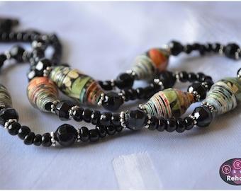 "Handmade  Paper Bead ""single strand"" Necklace - Orange, Green & Black"