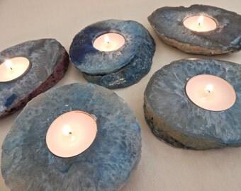 Zen Agate Candle Holders, Blue Stone Candleholder Set of 5