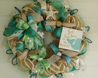 Beach Wreath, Seashell Wreath, Summer Wreath, Burlap Wreath, Starfish and Seashells Wreath, Nautical Wreath