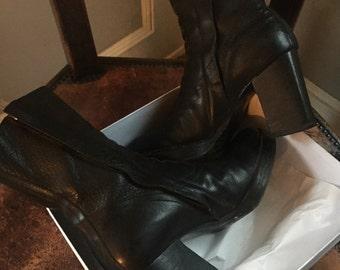 Rick Owens high heels boots Paris runway menwear Avant Garde fashion Collectable boots size 9 designer boots Ann Demeulemeester Black