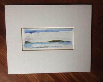 Quiet Sea - Maine - Original Acrylic & Pencil - Matted