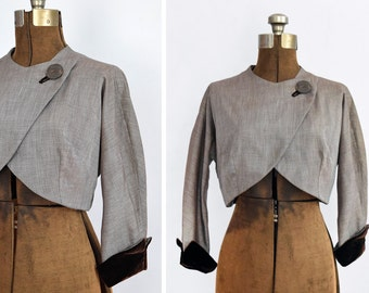 1940s Cropped Bolero with Chocolate Velvet Cuffs and Asymmetrical Front