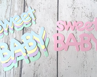"5 sets of large Pastel ""Sweet Baby"" word die cuts for cards/toppers *cadrmaking*scrapbooking*"