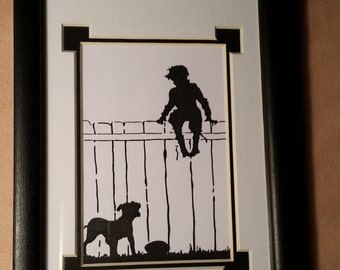 Silhouette Reproduction (copy) - Boy Playing with His Dog 5 x 7
